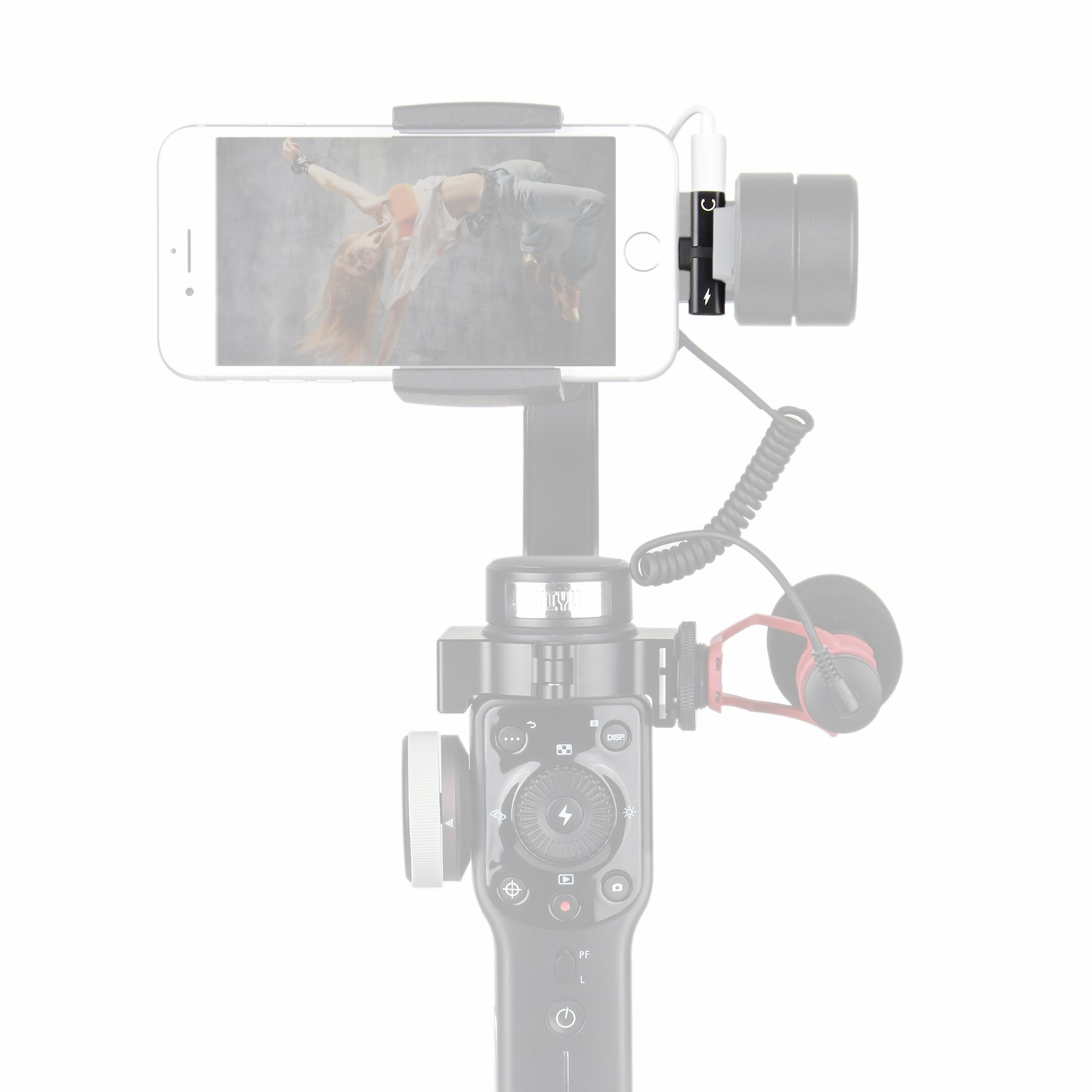 Holafoto 2in1 Lightning Adapter Charge Headphone Audio Dji Osmo Mobile 2 Smartphone Gimbal Attach Microphone To Such As Zhiyun Smooth Q 4 3 Feiyu